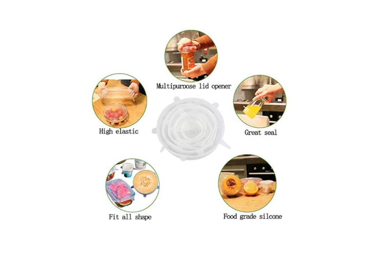 Reusable Silicone Stretch Lids Food Cover With 6-Pack Of Various Sizes - White White