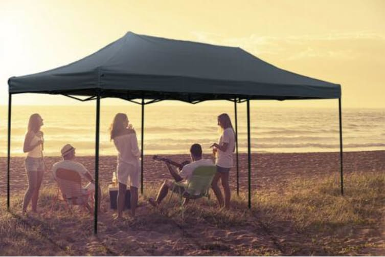 Mountview 3x6M Gazebo Outdoor Pop Up Tent Folding Marquee Camping Canopy Grey Grey (3x6m) + 6 Sand Bags