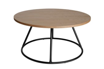 Soho Round Wood Coffee Table | Black & Natural