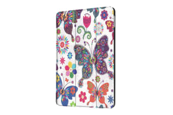 For iPad 2018 2017 9.7in Case Colorful Butterflies Durable 3-fold Leather Cover