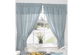 Molly Gingham Chequer Pattern Ready Made Curtains With Valance Top (Green) (46 x 54 (117cm x 137cm))