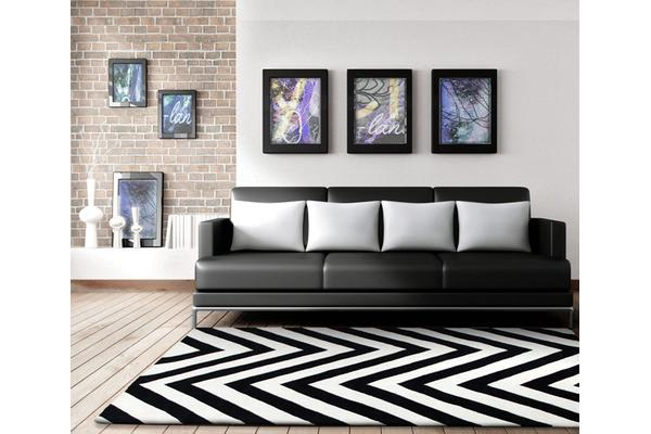 Chevron Black And White Rug 280x190cm