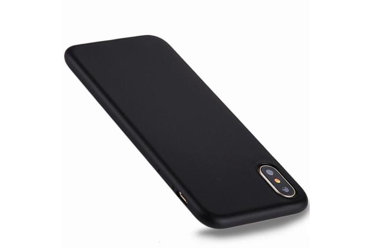 For iPhone XS X Case Pure Color Electroplating Durable Protective Cover Black