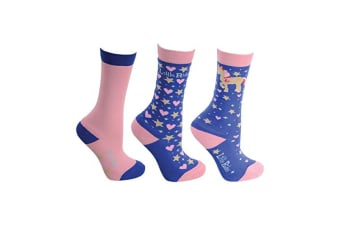 Little Rider Childrens/Girls Star in Show Socks (Pack Of 3) (Regatta Blue)