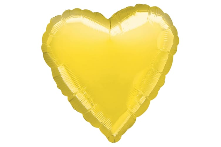 Amscan 18 Inch Plain Heart Shaped Foil Balloon (Yellow) (One Size)