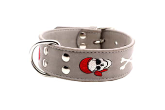 Animal Kingdom Doggy Things Pirate Leather Dog Collar (Grey) (45cm)