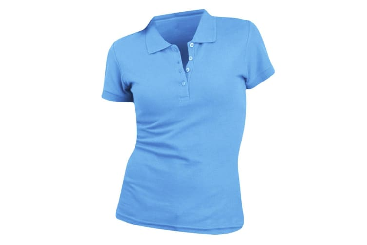 SOLS Womens/Ladies People Pique Short Sleeve Cotton Polo Shirt (Blue Atoll) (XL)