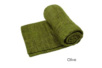 Hutton Woven Throw Rug Olive