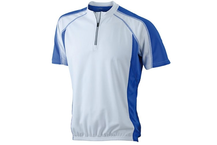 James and Nicholson Mens Bike Top (White/Royal Blue) (S)