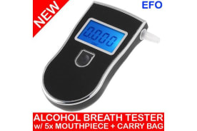 Digital Breath Alcohol Tester Breathalyser Backlit Lcd Display 5X Mouthpiece
