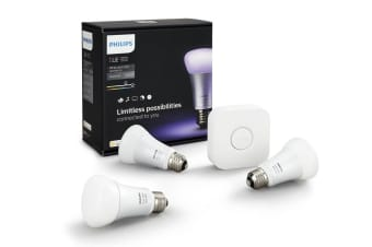 Philips Hue E27 Lighting Starter Kit with 3 x 10W LED Globes & Wireless Bridge