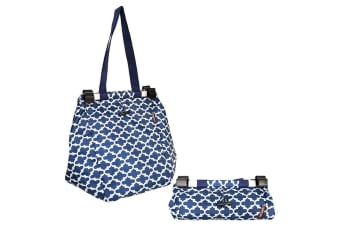 Sachi Shopping Reusable Grocery Hand Cooler Bag for Cart Trolley Moroccan Navy