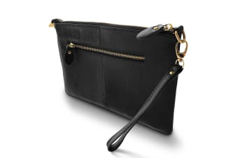 Cleo Genuine Soft Leather Clutch Bag-Black