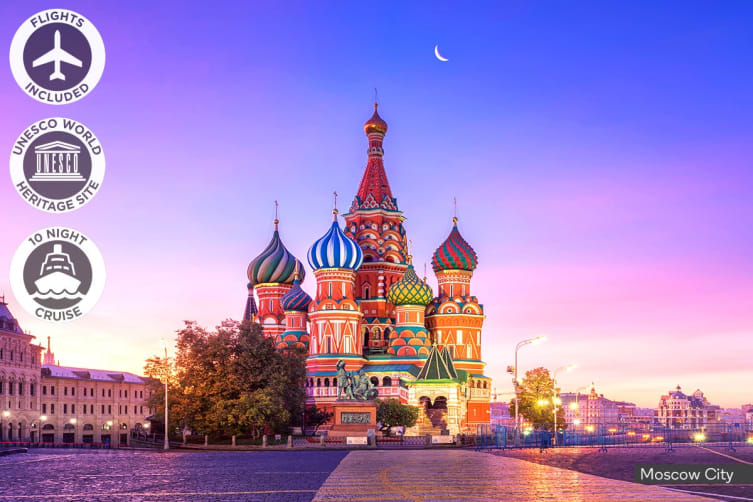 RUSSIA: 12 Day Russian River Cruise Including Flights for Two