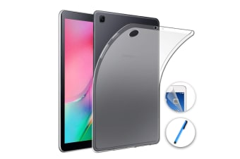 "Samsung Galaxy Tab A 10.1"" 2019 Ultra-Thin Transparent Clear TPU Gel Case by MEZON (SM-T510, T515) – Anti Scratch, Shock Absorption – with Screen Protector and Stylus"