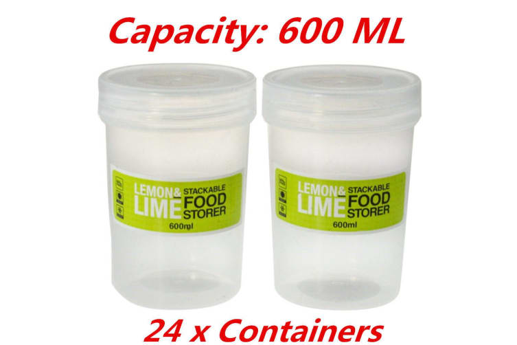 24 x 600ml Screw Top Stack-able Plastic Food Storage Container Box Tubs Lid BPA Free