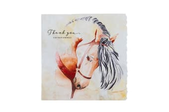 Deckled Edge Fanciful Dolomite Greetings Card (Thank You For Your Kindness - Horse (Multicoloured))