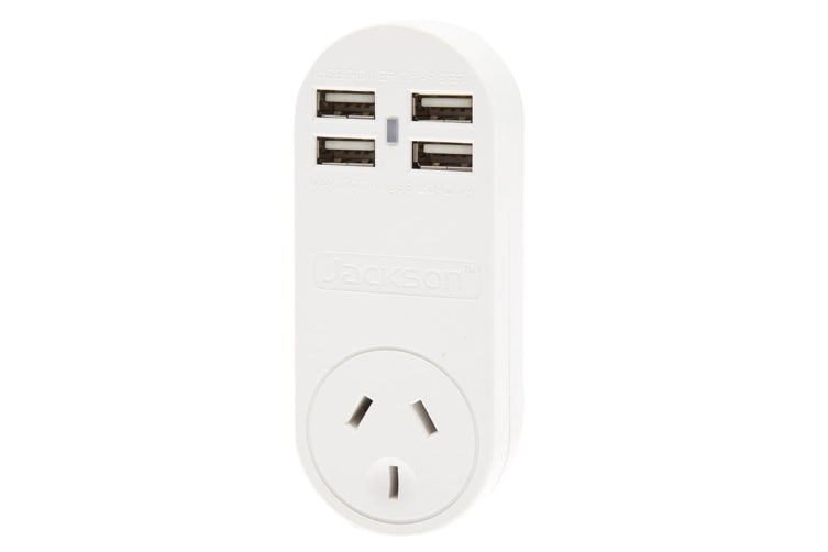 Jackson 4 Outlet USB Charger with Surge Protected Power Outlet (PT4USB)