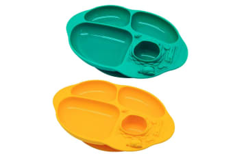 2PK Marcus & Marcus Toddler Yummy Dips Silicon Suction Plate 18m+ Ollie & Lola