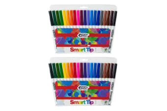 2x 20pc Texta The Original Smart Cone Tip Markers Water Based Kids Drawing Pens