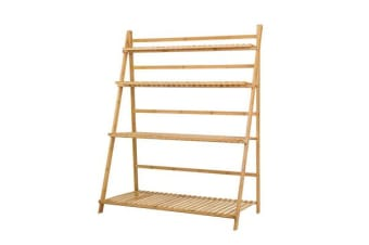 Artiss Bamboo Wooden Shelf Plant Stand Folding Ladder Storage Indoor Outdoor