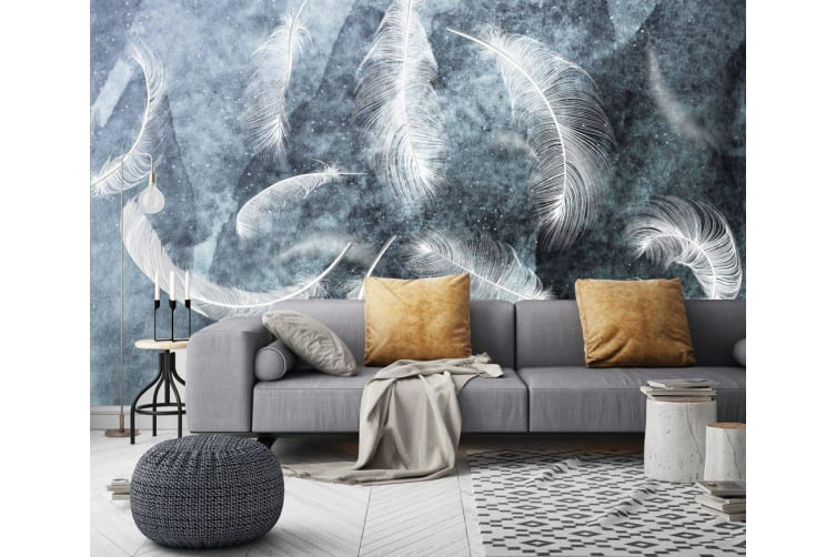 3D Gray Feather 601 Wall Murals Woven paper (need glue), XL 208cm x 146cm (WxH)(82''x58'')