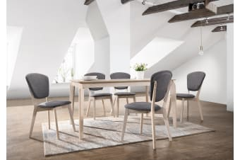 7pcs Designer Dining Sets 1.5m Table 6 upholstered Chairs in White Washed