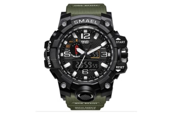 Men'S Large Dual Dial Analog Digital Quartz Multifunction Electronic Sport Watch Black Armygreen