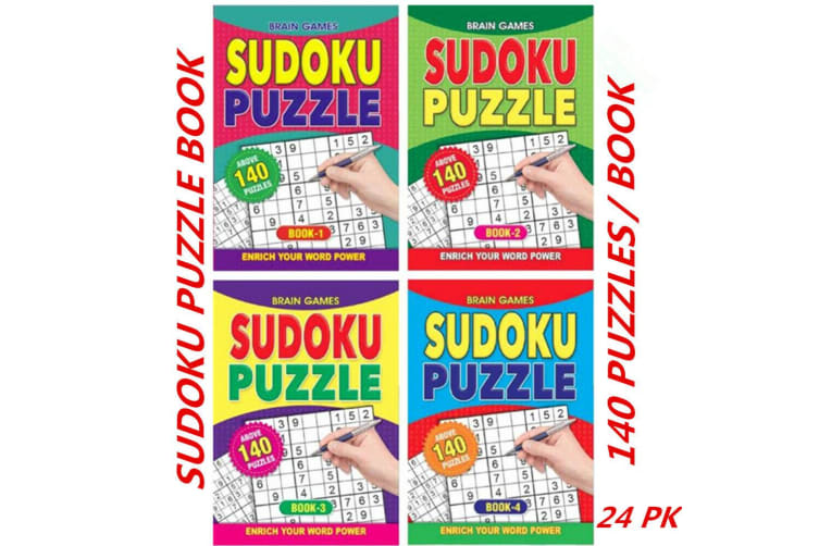 24 x A5 Sudoku Puzzle Book Adults Kids Mind Activity Travel (140 Puzzles/Book)