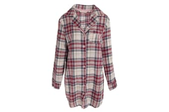 Forever Dreaming Womens/Ladies Madras Checked Button Up Nightshirt (Plum/White)