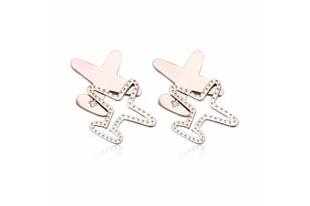 Duo Plane Earrings-Rose Gold