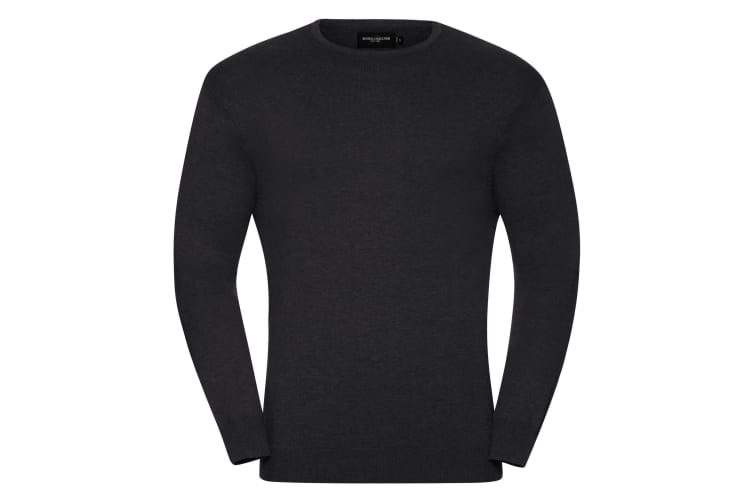 Russell Collection Mens Crew Neck Knitted Pullover Sweatshirt (Charcoal Marl) (XL)