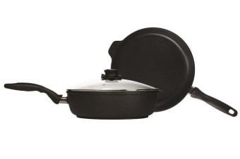 Swiss Diamond XD Induction Saute Pan 28cm and Frypan 28cm with Glass Lid