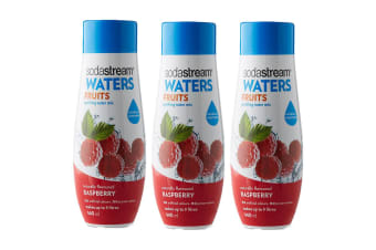 3x Sodastream Waters Fruits Raspberry 440ml Sparkling Water Syrup/Sweetened Mix