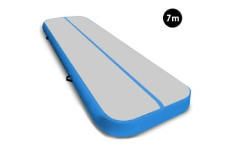 7m Airtrack Tumbling Mat Gymnastics Exercise 20cm Air Track Grey Blue