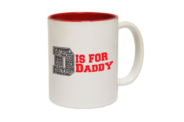 123T Funny Mugs - D Is For Daddy - Red Coffee Cup