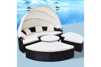 vidaXL Outdoor Lounge Bed Poly Rattan Black