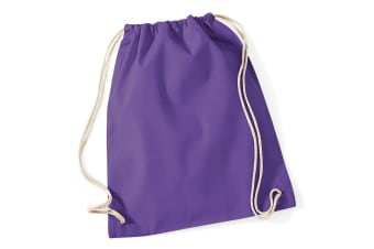 Westford Mill Cotton Gymsac Bag - 12 Litres (Purple) (One Size)