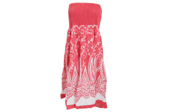 Womens/Ladies Paisley And Leaf Swirl Pattern 2 In 1 Summer Dress (White/Coral)