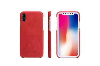 For iPhone XS X Case Fierre Shann Elegant Protective Genuine Leather Cover Red