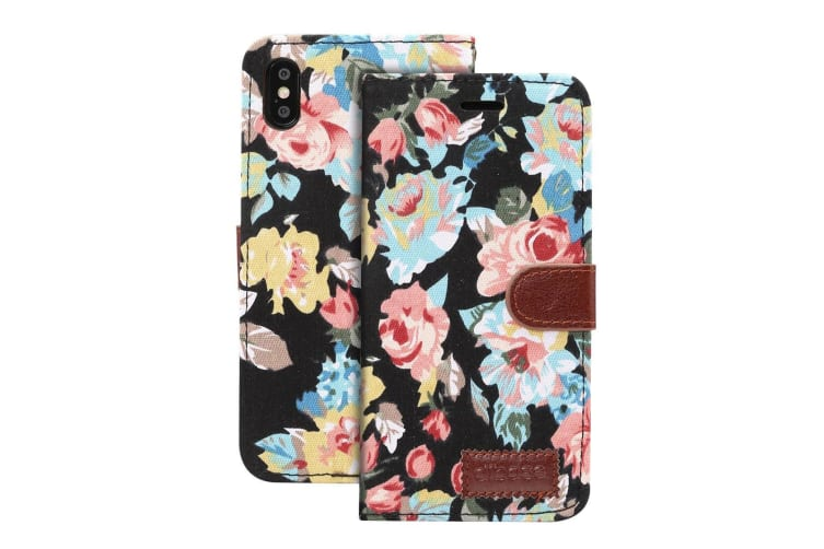 For iPhone XR Case Black Flower Pattern PU Leather Folio Wallet Cover