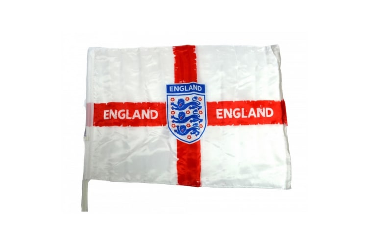 England Official Football Distressed Crest Car Flag (White/Red/Blue) (One Size)