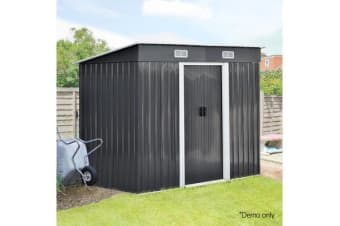 2.35 x 1.31M Steel Garden Shed (Grey)