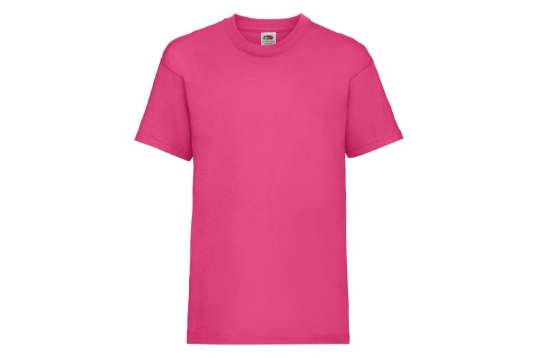 Fruit Of The Loom Childrens/Kids Unisex Valueweight Short Sleeve T-Shirt (Pack of 2) (Fuchsia) (9-11)