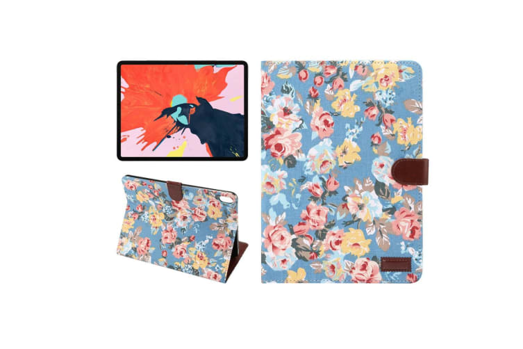 For iPad Pro 11 Inch (2018) Case PU Leather Folio Cover Blue Floral Cloth