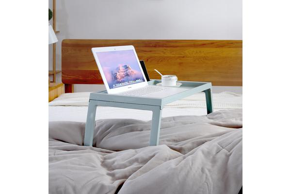 Foldable Breakfast Food Serving Serve Bed Tray Table with iPad iPhone Holder Blue