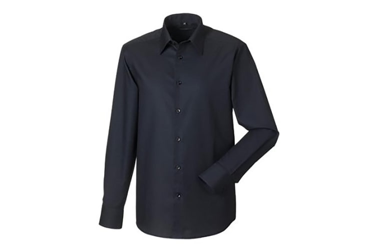 Russell Collection Mens Long Sleeve Easy Care Tailored Oxford Shirt (Black) (18inch)
