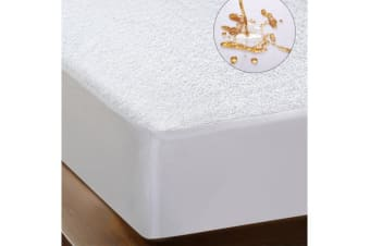 Luxury Terry Cotton Mattress Protector White KING SINGLE