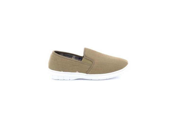 Scimitar Mens Twin Gusset Slip On Casual Textile Shoes (Taupe) (10 UK)