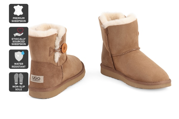 Outback Ugg Boots Mini Button - Premium Sheepskin (Chestnut, 5M / 6W US)